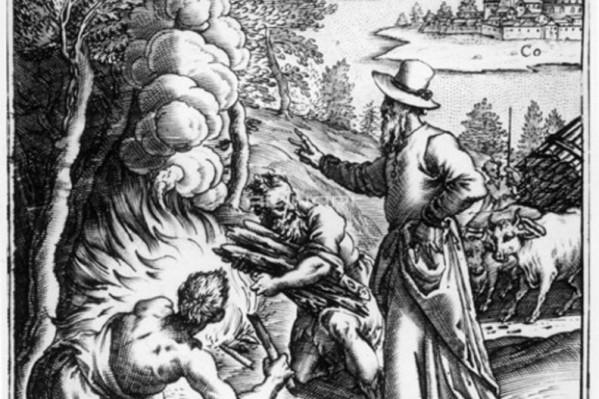 """Ο Ιπποκράτης εξηγεί τη σημασία της μόλυνσης στον λοιμό των Αθηνών, γκραβούρα του 16ου αι. """"Βιβλιοθήκη της Ακαδημίας Ιατρικής"""", Παρίσι."""