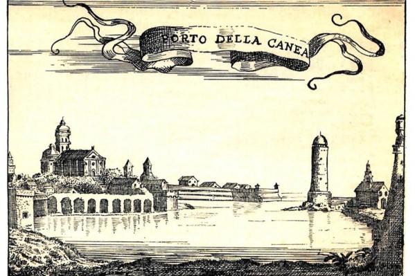 Ξυλογραφία με απεικόνιση του λιμανιού των Χανίων