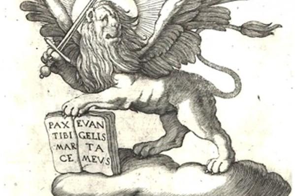 Ξυλογραφία, σύνθεση με Χάρτη της Κρήτης και τον πολεμικό λέοντα της Βενετίας του Marco Boschini