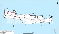 Χάρτης της Κρήτης όπου έχουν επισημανθεί ιστορικά πλημμυρικά φαινόμενα