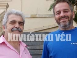 Στέλιος Κουνελάκης (αριστερά) και Μανώλης Πατερομιχελάκης μιλούν για την προσπάθεια του Μουσείου Μουσικών Κρήτης