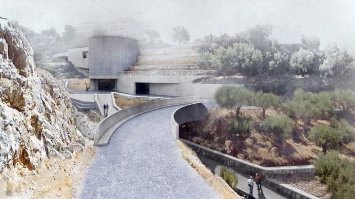 Το εξωτερικό του προτεινόμενου κτηρίου προς το φαράγγι