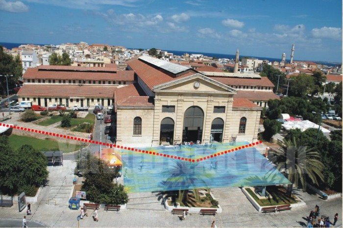 Η πλατεία Δημοτικής Αγοράς, με κόκκινο διακεκομμένο χρώμα το σημείο όπου εντοπίστηκε Tμήμα του Ενετικού Τείχους.