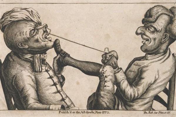 Χιουμοριστική Γαλλική  γκραβούρα του 1773, που απεικονίζει εξαγωγή οδόντος με τη βοήθεια σπάγγου…