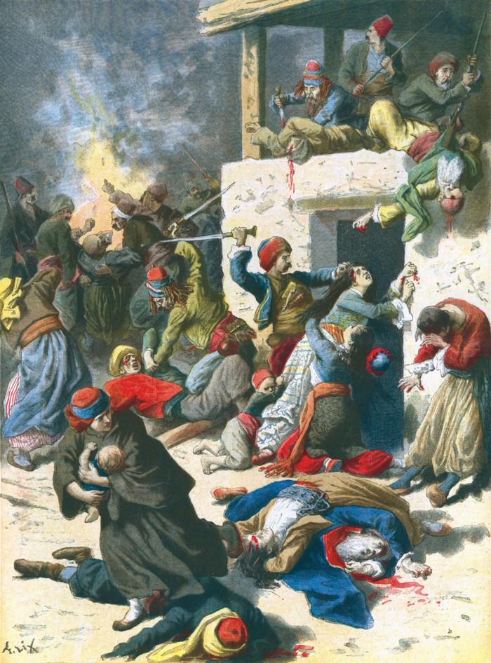 """Ως αντίδραση της Επανάστασης, τον Μάιο του 1896, ξέσπασαν στα Χανιά λεηλασίες και σφαγές των Χριστιανών από τον μουσουλμανικό όχλο, εδώ το πρωτοσέλιδο της """"Le Petit Journal""""."""