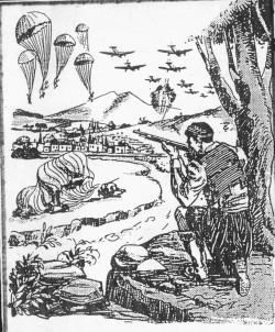 Σχεδίασμα εμπνευσμένο από τη Μάχη της Κρήτης (1941). Εργο του Αλεξ. Κ. Δρουδάκη, λαϊκού καλλιτέχνη
