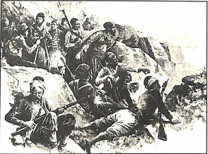 Σφακιανοί και Αποκορωνιώτες αντάρτες στην πολιορκία του Βάμου (Αθήνα, Γεννάδειος Βιβλιοθήκη).