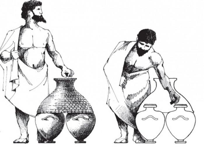Αναπαράσταση καλπών και καλύμματος (κημός), σκίτσο του P. Langmuir. Πηγή εικόνας: Boegehold A., The Lawcourts at Athens, Athenian Agora, vol. 28, Princeton 1995, σελ. 29, εικ.1.