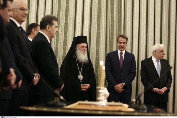Ο Κυριάκος Μητσοτάκης και ο Αρχιεπίσκοπος Ιερώνυμος λίγο πριν την ορκομωσία