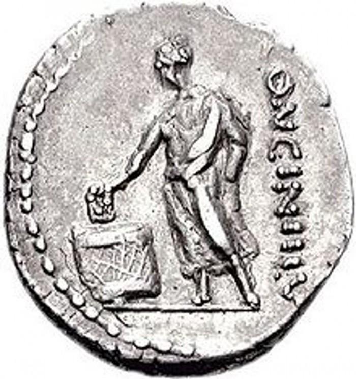 Οπισθότυπος Ρωμαϊκού αργυρού νομίσματος (δηναρίου) του 63 π.Χ., με απεικόνιση Ρωμαίου ψηφοφόρου.
