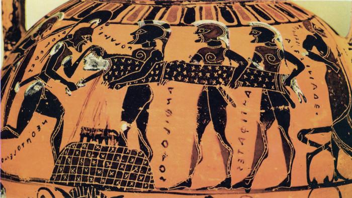 Η θυσία της Πολυξένης, θυγατέρας του Πριάμου, όπως εικονίζεται σε μελανόμορφο αμφορέα του Ζωγράφου του Τιμιάδη.