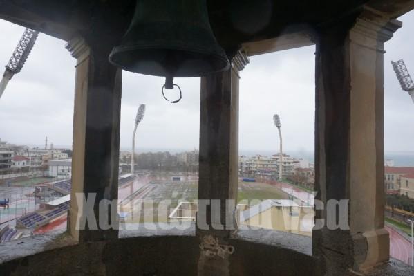 Αποψη του Εθνικού Σταδίου Χανίων από το κουβούκλιο του Ρολογιού.
