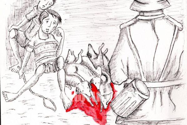 """Η εκτέλεση των σκυλιών σε σκίτσο που έφτιαξε για τα """"Χ.Ν."""" ο Νίκος Μπλαζάκης.  Τα παιδιά δίπλα στα σκοτωμένα σκυλιά που τράβηξαν με σκοινιά μπροστά  στο εκτελεστικό απόσπασμα των ναζί, τον Ιούλιο του 1941 στον Σκινέ Κυδωνίας."""